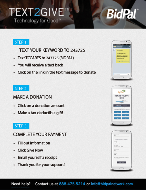 Instructions for how to use donate using your phone