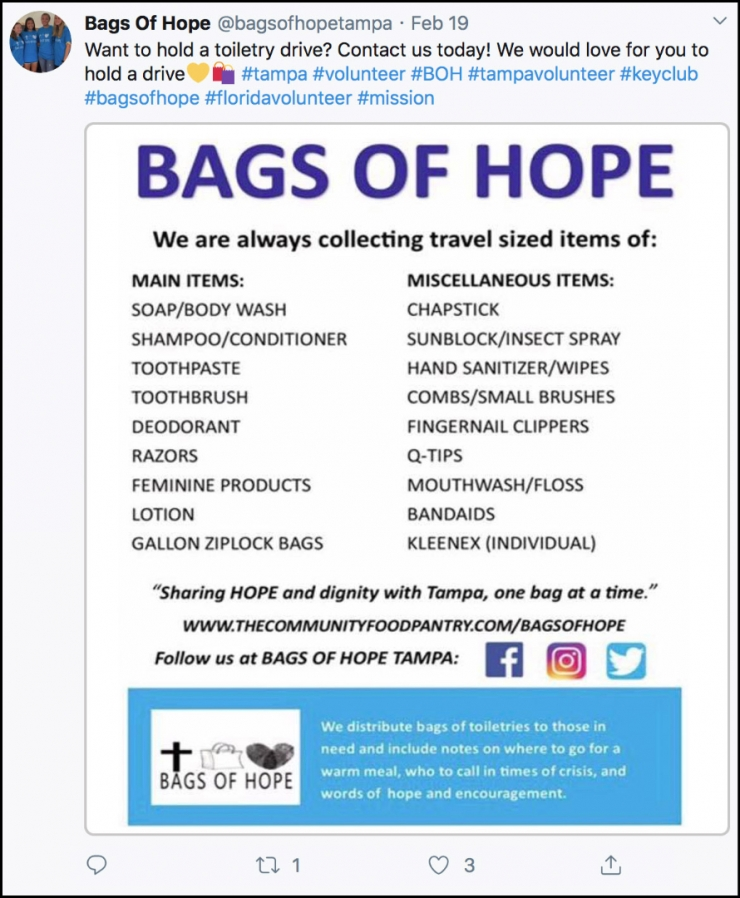 Bags of Hope Twitter